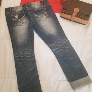 Machine Jeans - Cropped distressed jeans